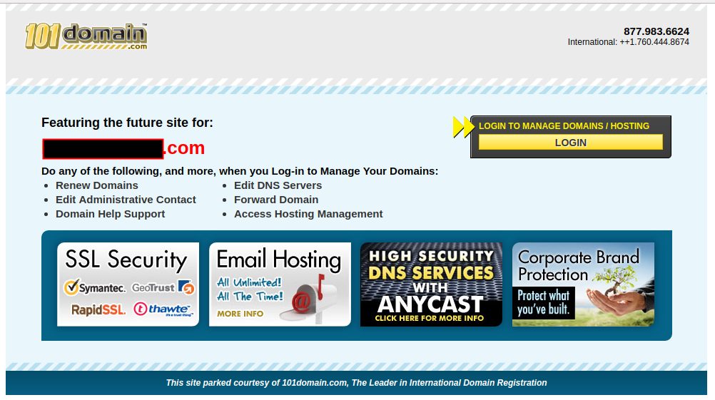 101 Domains parked page
