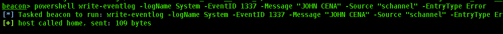 write-eventlog output